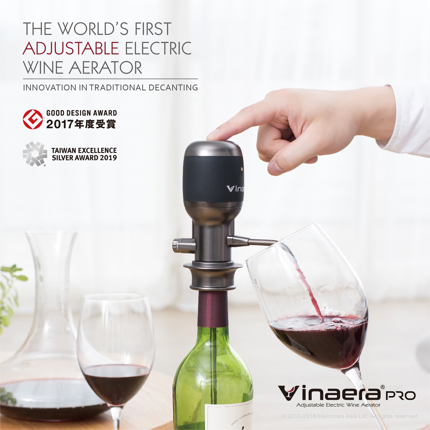 VINAERA PRO – ADJUSTABLE ELECTRIC WINE AERATOR (V2)